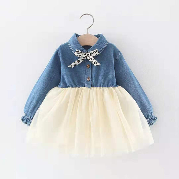 Full Sleeve Denim and Tutu Dress
