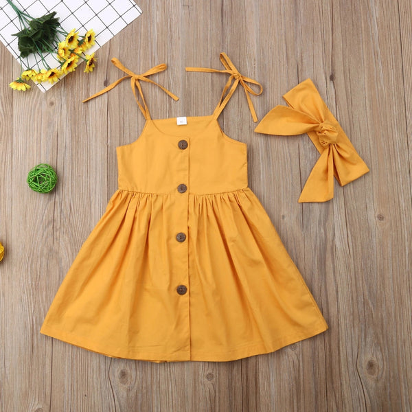Buttoned Dress with Headband
