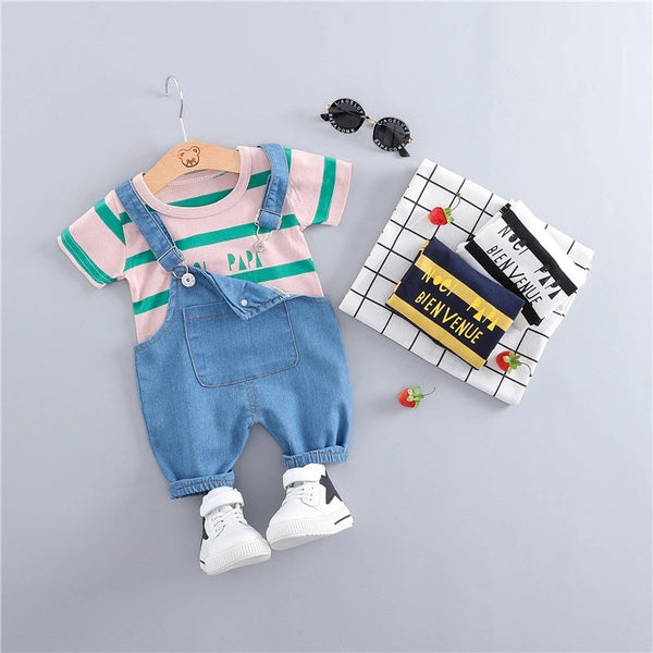 Denim Dungaree And T-Shirt Set