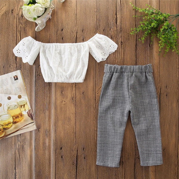Checks Pant and Lace Top Set