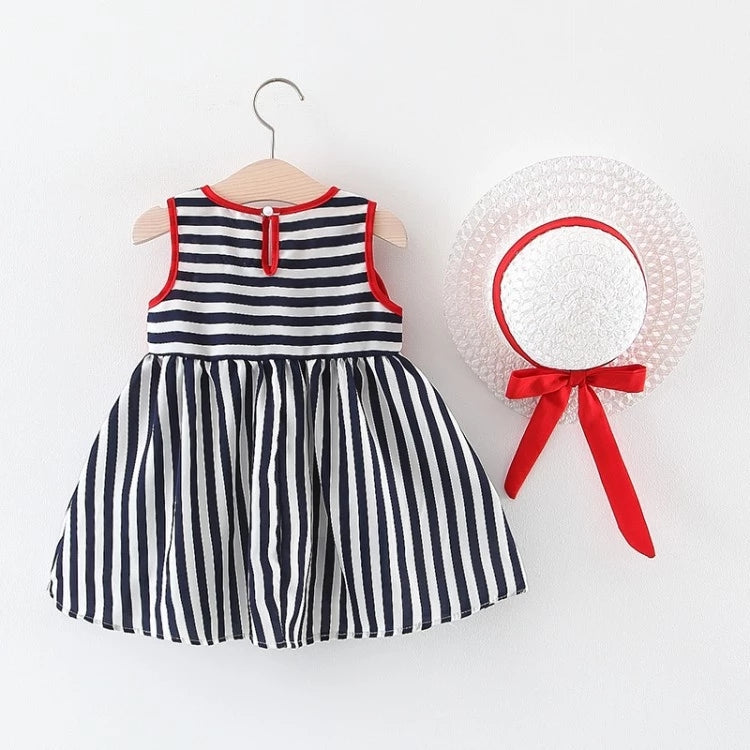 Striped Dress with Hat