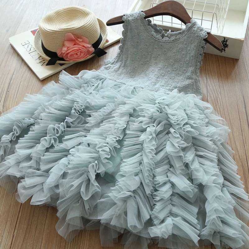 Embroidered Ruffles Party Dress
