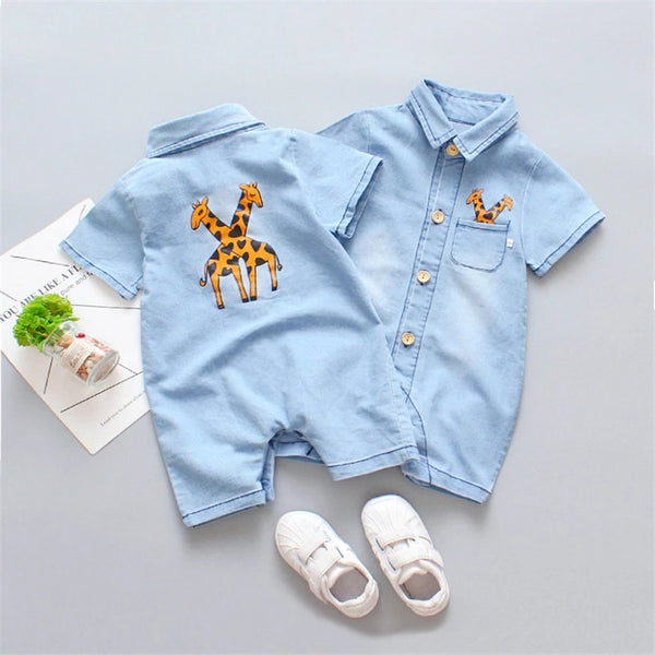 Giraffe Made Denim Romper