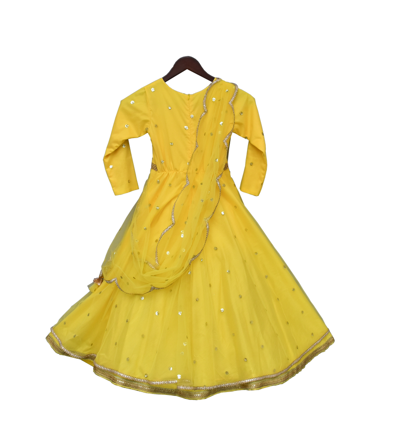 Yellow Boti Net Anarkali