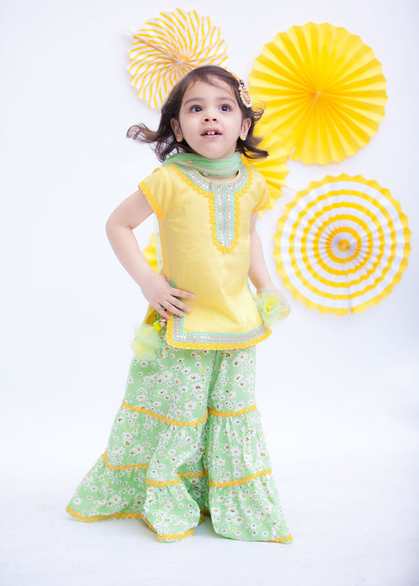 Yellow Kurti with Green Printed Sharara