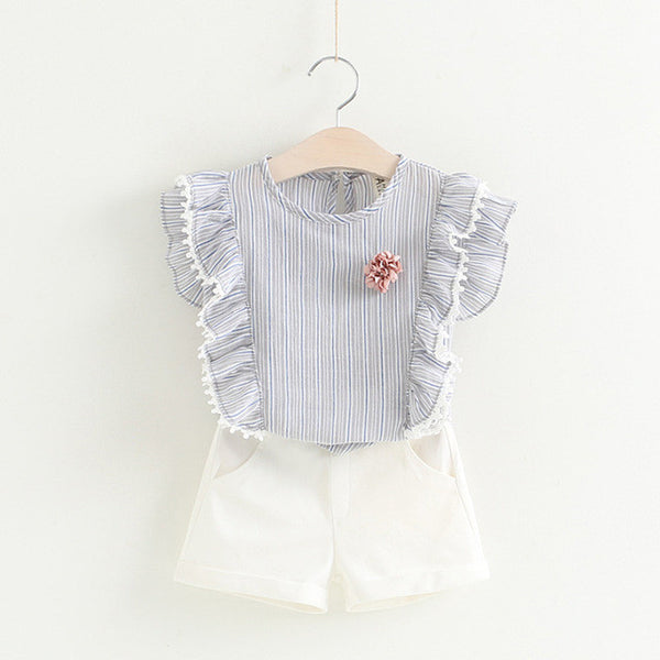 Striped Top Plus Shorts Set