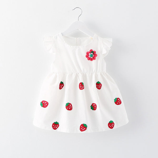Strawberry Embroidered Dress For Baby Girls