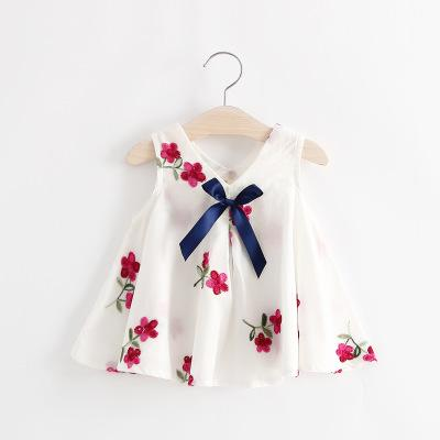 Flower Dress With Ribbon For Baby Girls