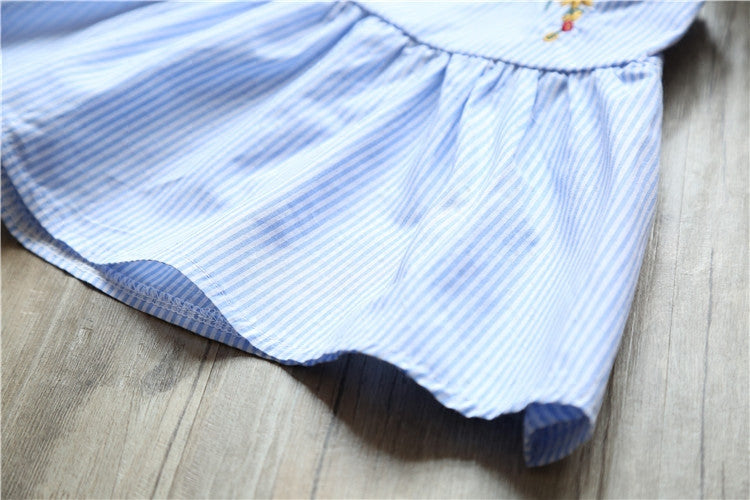 Cotton Embroidery Striped Top