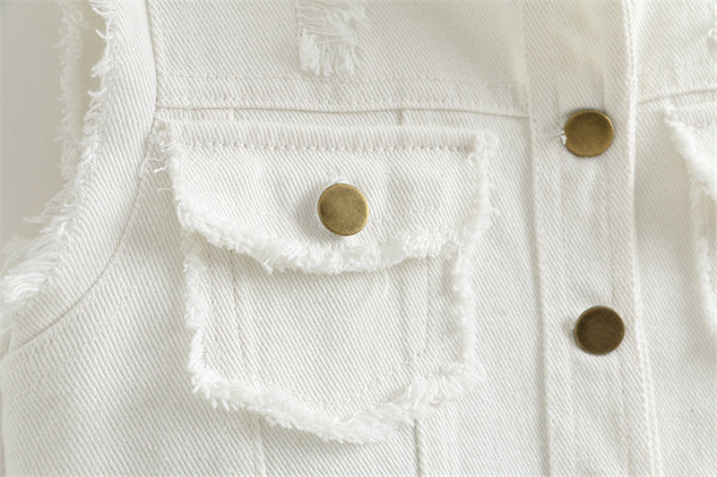 Sleeveless White Denim Jacket