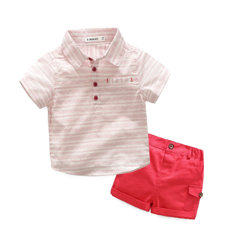 Half Sleeve Striped Shirt Plus Shorts Set