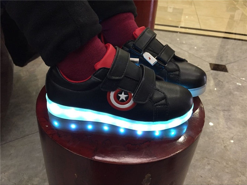 USB Charging Captain America Shoes with 7 Color LED Options