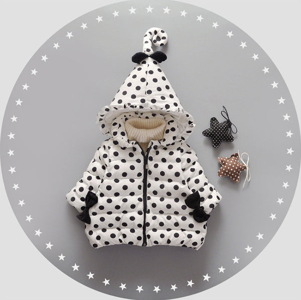 Polka Dots Winter Hooded Jacket