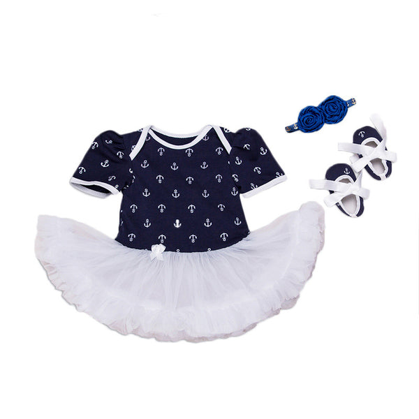 Navy Blue Anchor Tutu Set