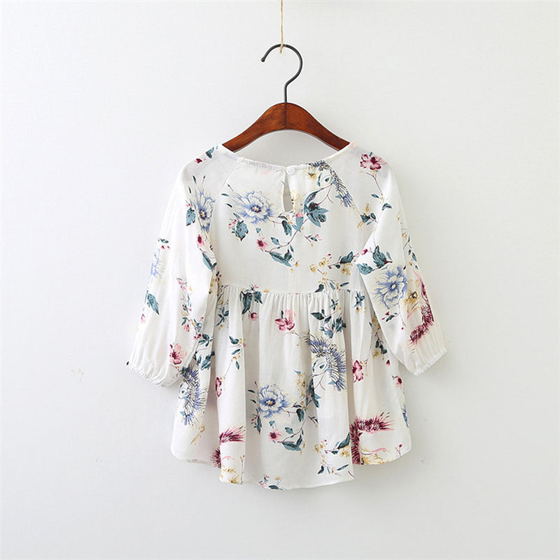 Floral Long Sleeves High Low Dress