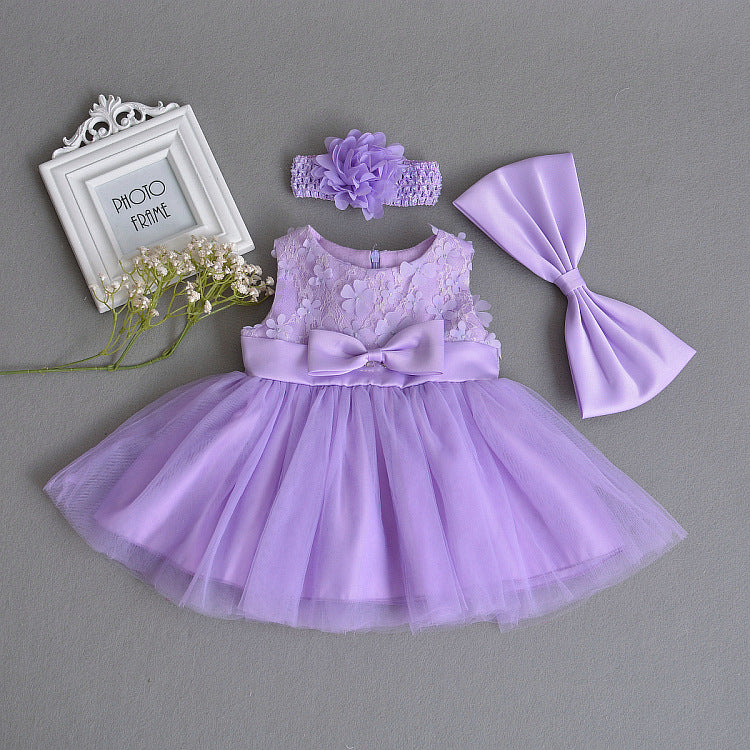 Purple Lace Flower Party Gown
