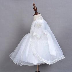 Embroidery Cape Baby Girl Party Dress with Cap