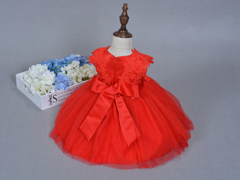 Flower Lace Red Baby Gown