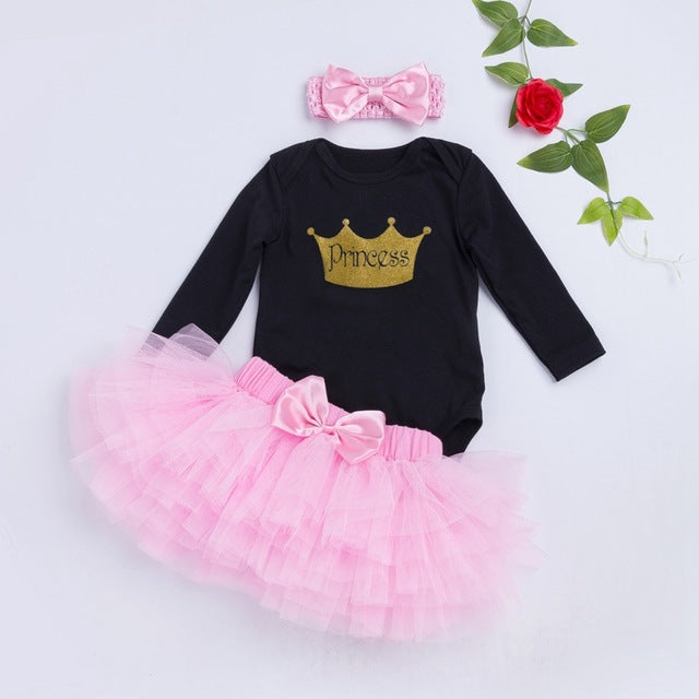 Baby Girl Black Bodysuit plus Tutu Skirts and Headband