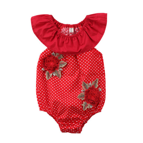 982357d21 Flower Polka Dot Romper For Baby Girls – Baby Monk
