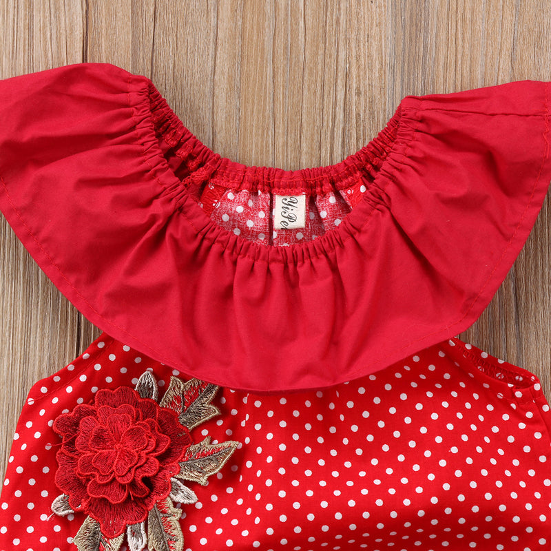 Flower Polka Dot Romper For Baby Girls