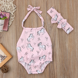 Unicorn Printed Romper With Headband