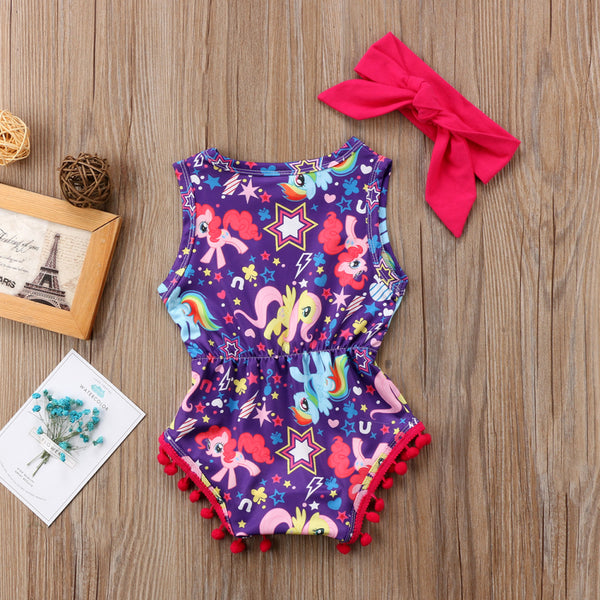 Baby Girls Floral Unicorn Tassel Jumpsuit