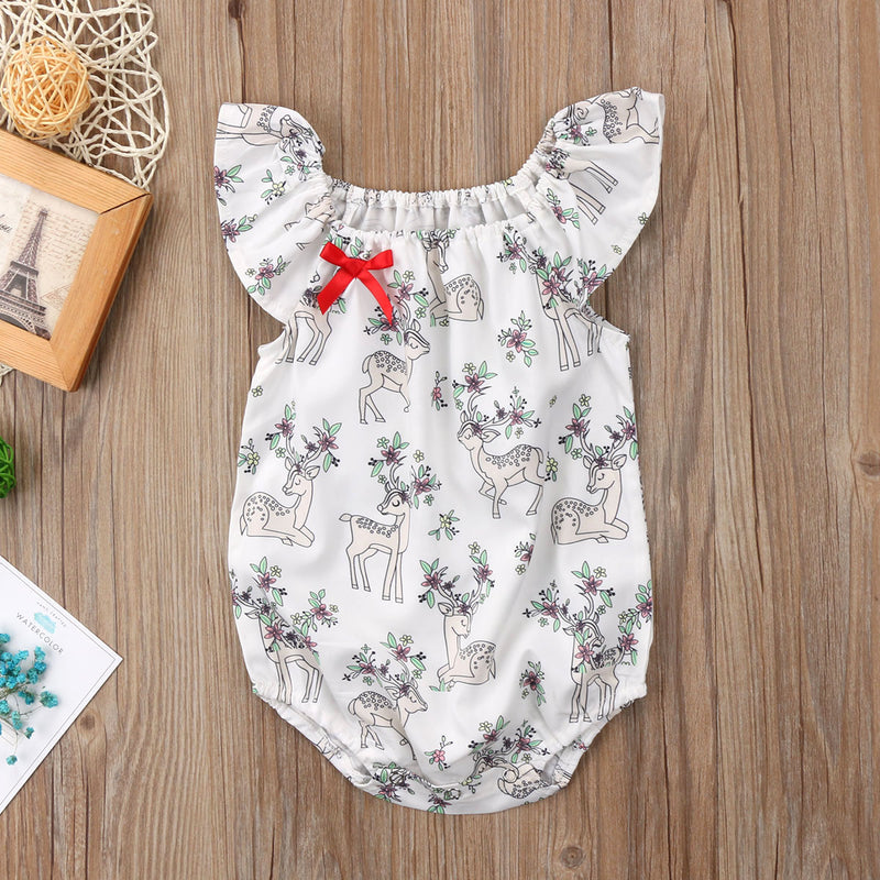 Deer Printed Baby Girls Romper