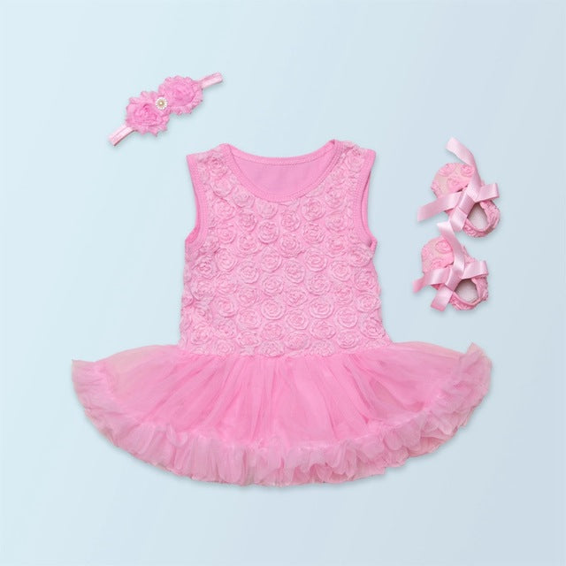Ruffles Tutu Dress With Headband And Shoes