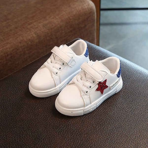White Star Glowing Sneakers For Kids