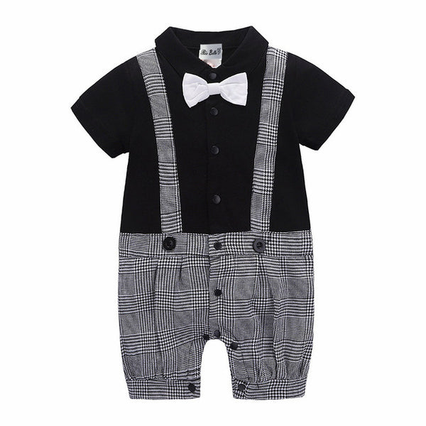 Suspender Style Plaided Gentleman Romper