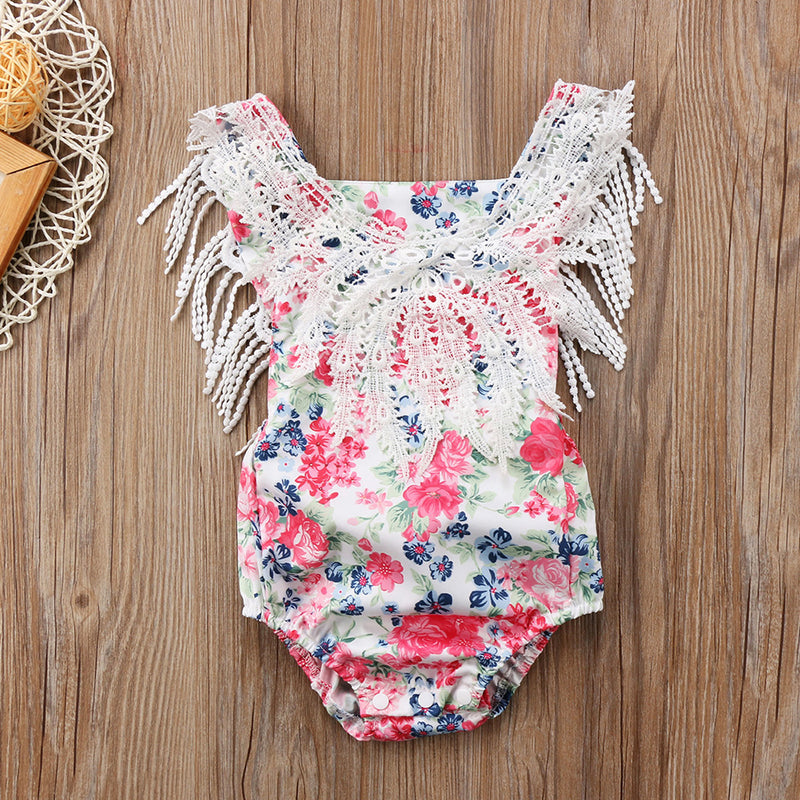Baby Girls Lace Floral Sleeveless Tassel Romper