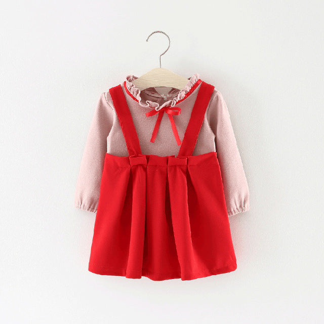 Pleated Overall Dress With T-shirt For Baby Girls