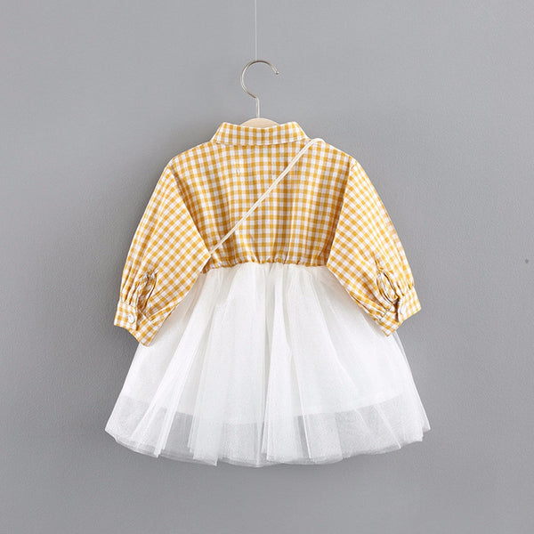 Long Sleeves Plaided Mesh Dress For Baby Girls