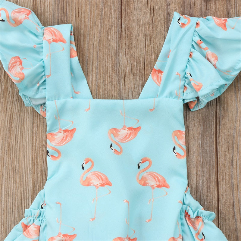 Swan Printed Romper With Hairband