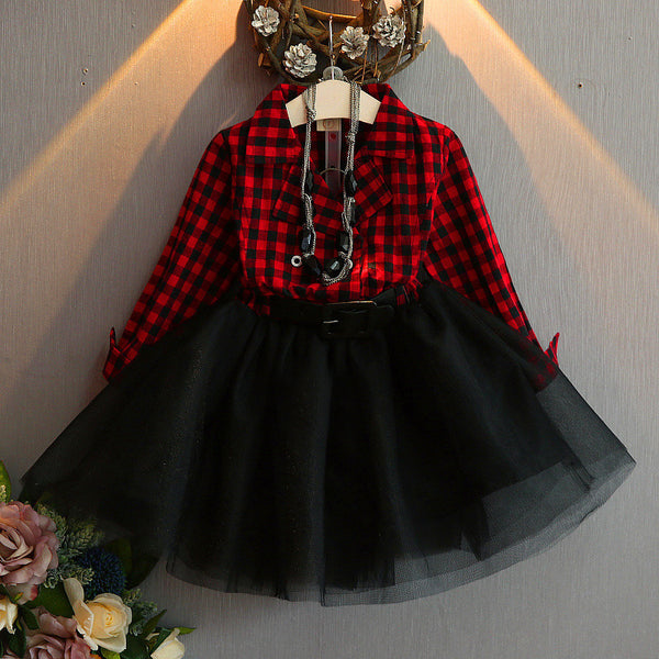 Red Plaided Dress With Belt For Girls
