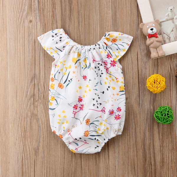 White Floral Romper For Baby Girls