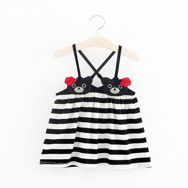 Colorful Striped Dress For Baby Girls