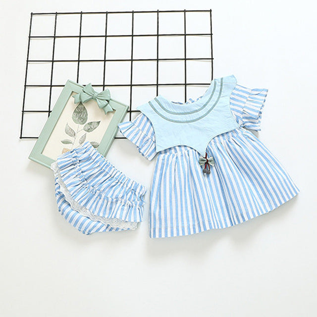 Striped Tutu Dress Plus Bloomer Set