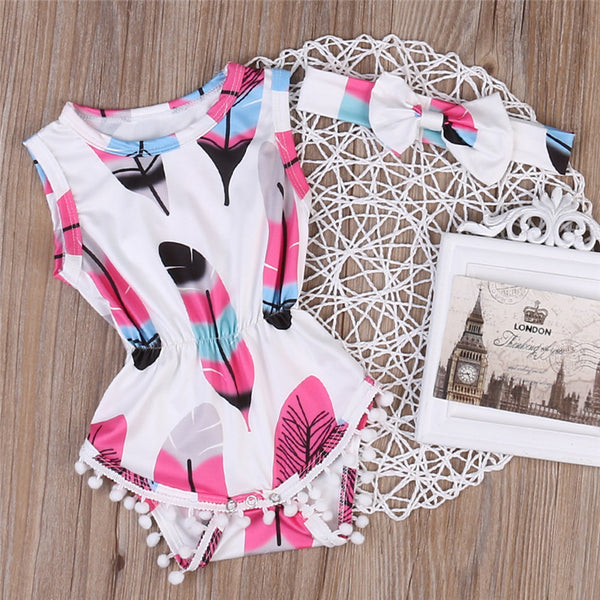 Leaf Printed Romper With Headband