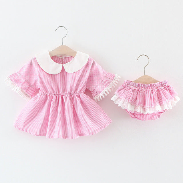 Flare Sleeves Dress Plus Bloomer Set