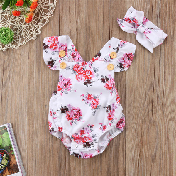 Floral Romper With Hairband