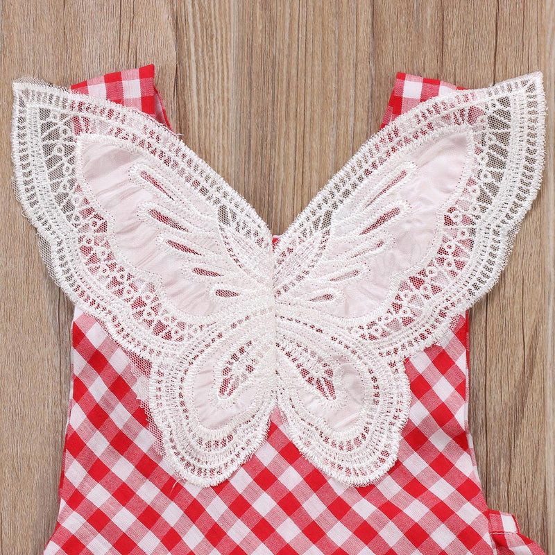 Butterfly Lace Checks Romper