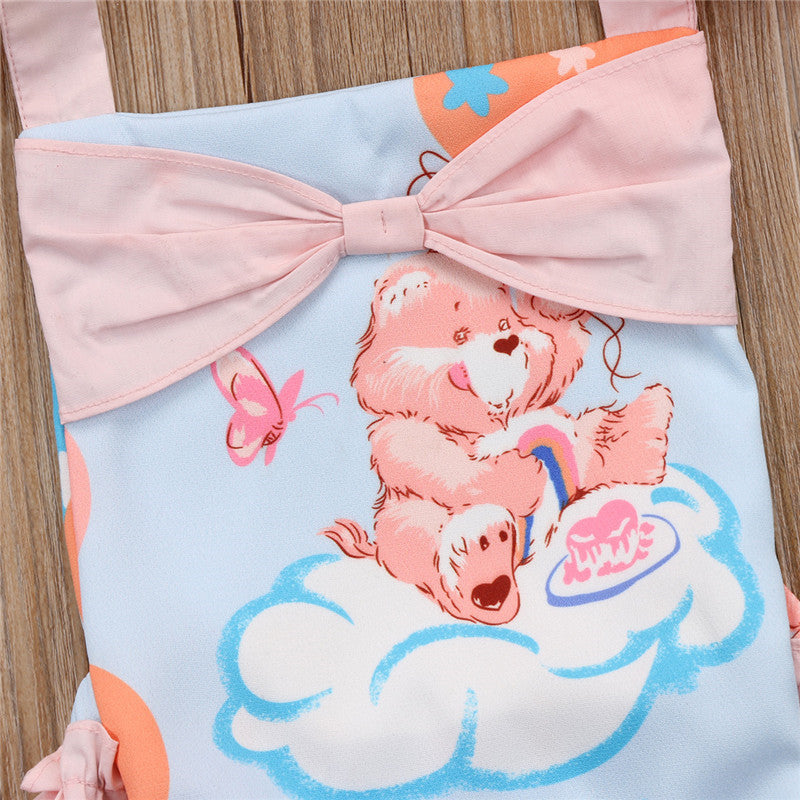 Cartoon Bear Bowknot Romper
