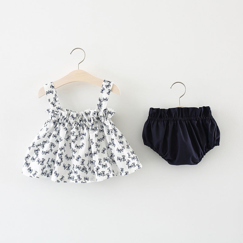 Bow Printed Baby Girl Bloomers Set