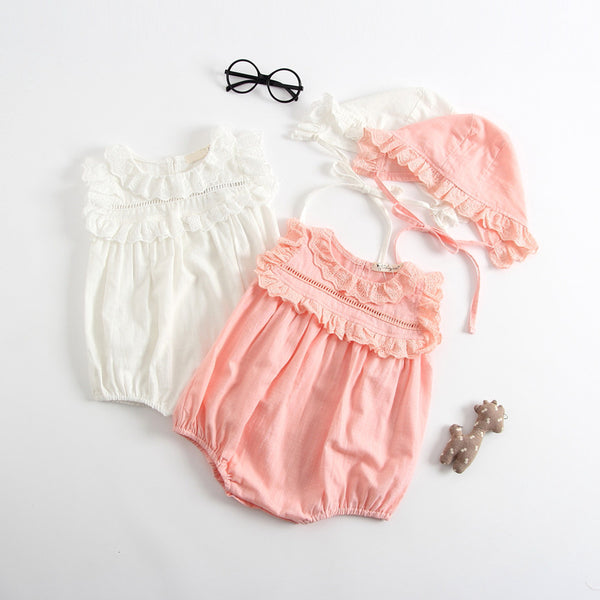 Ruffles Romper With Cap
