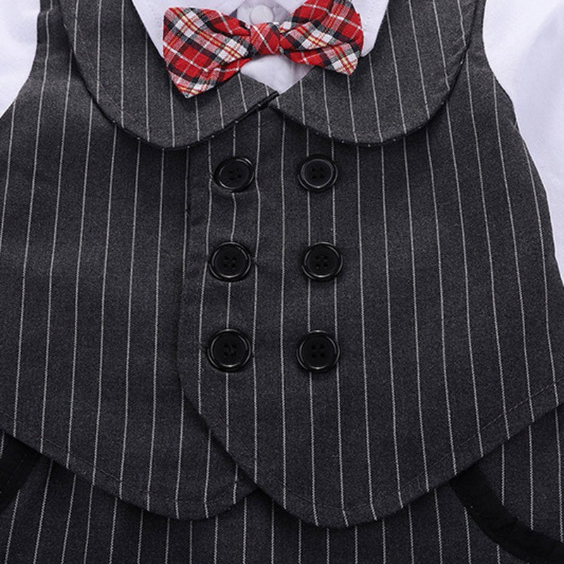Striped Waistcoat Style Gentleman Rompers For Baby