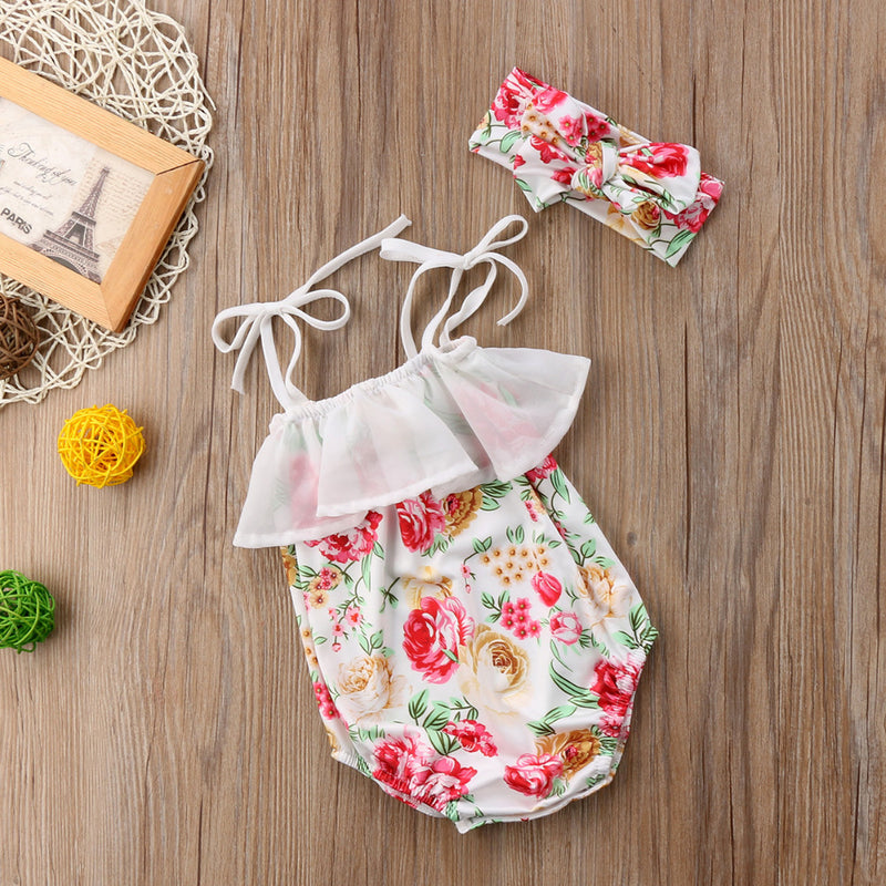Flower Strap Romper With Headband