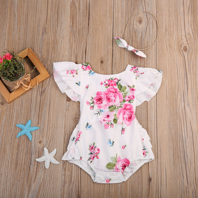 White Floral Romper With Headband