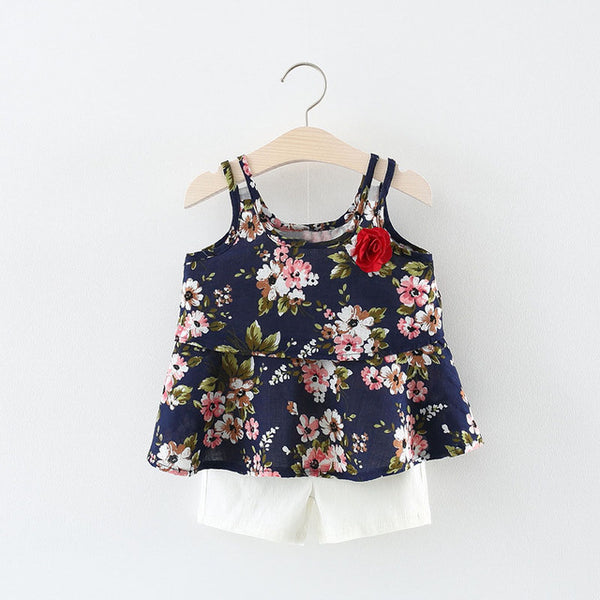 Floral Top Plus Shorts Set For Baby Girls